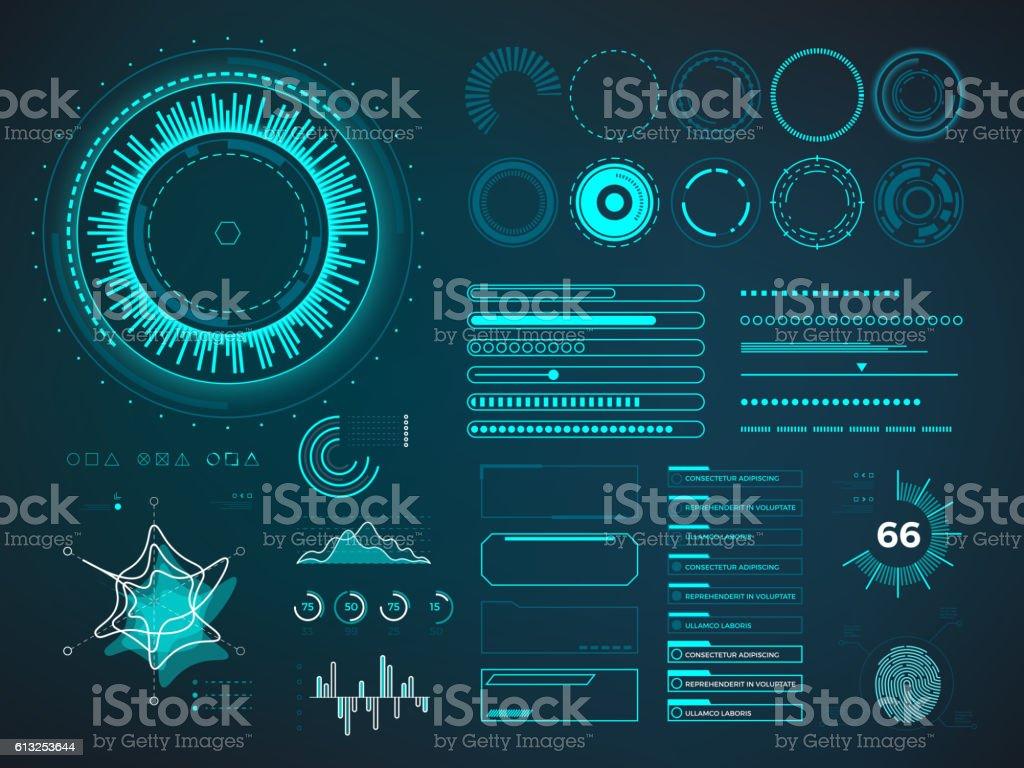 Futuristic user interface HUD. Infographic vector elements vector art illustration