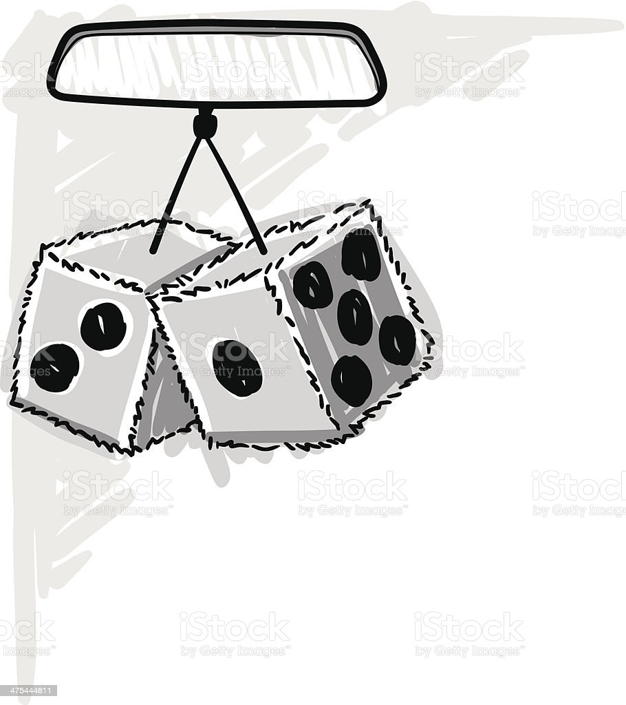 Fuzzy Dice Mirror vector art illustration