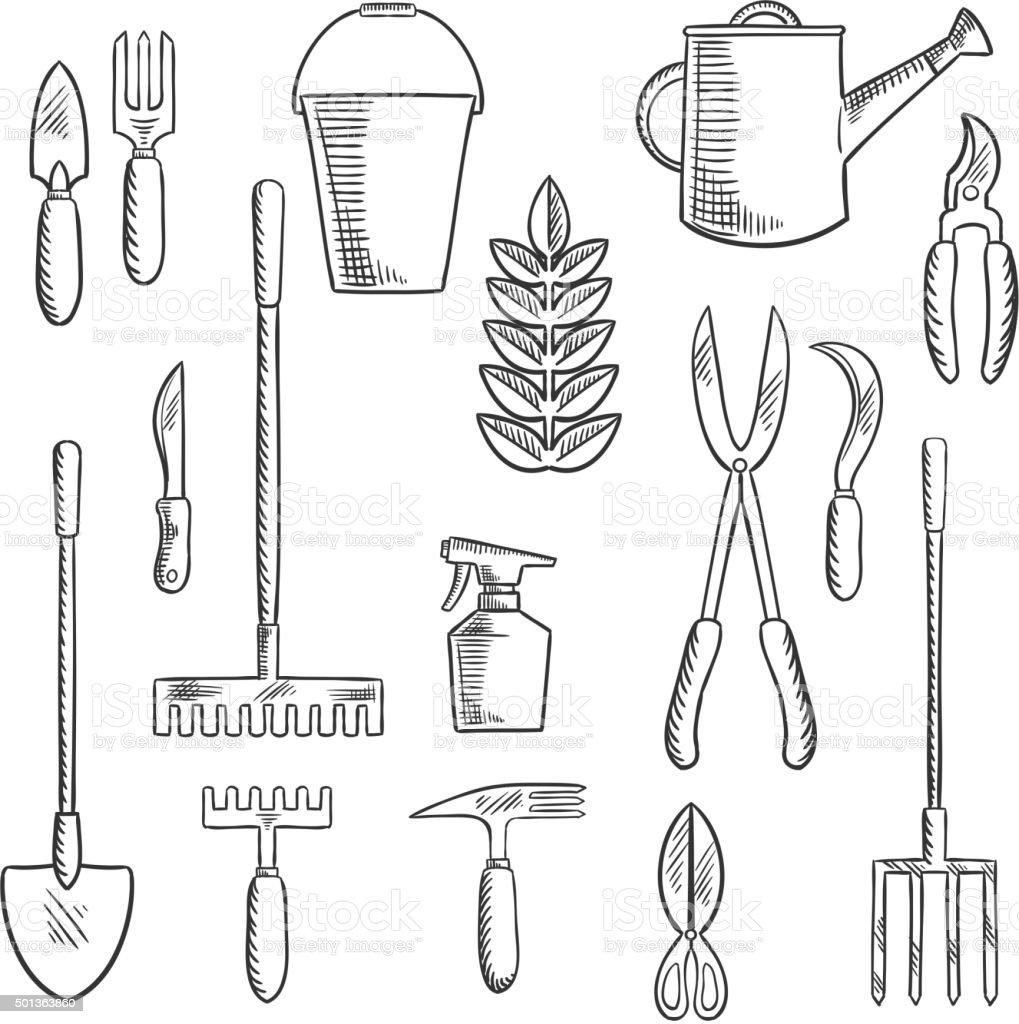 Gadening tools sketched icons set vector art illustration