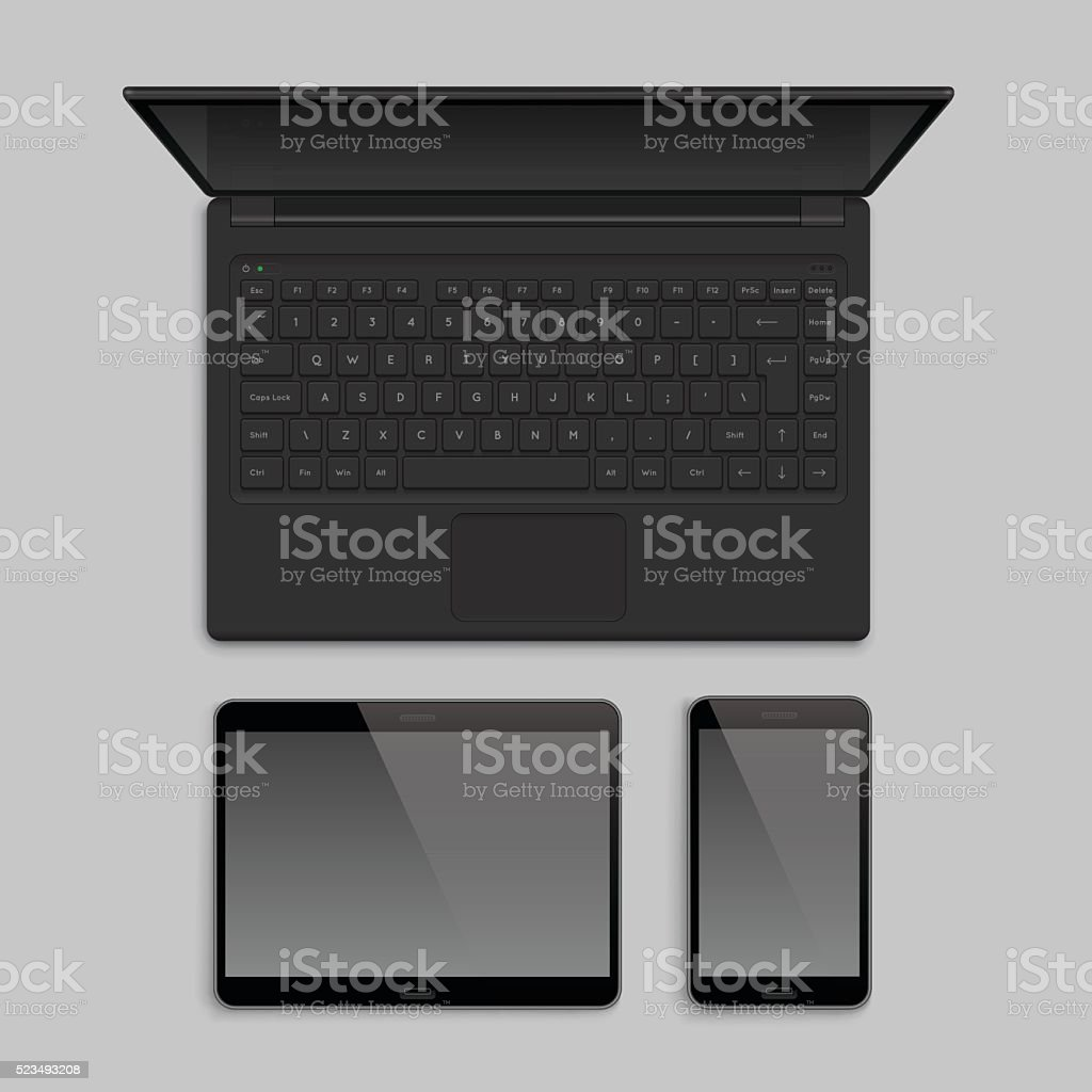 Gadget and device realistic mockup set. vector art illustration
