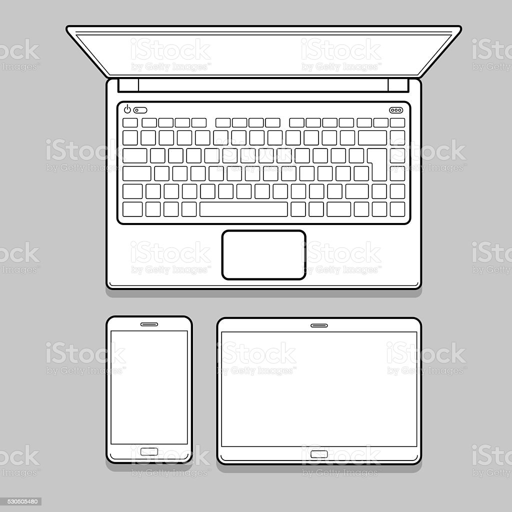 Gadget and device thin line mockup set. vector art illustration
