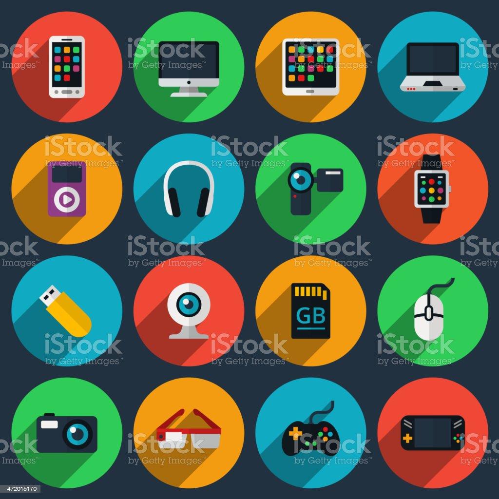 Gadget flat icons vector art illustration