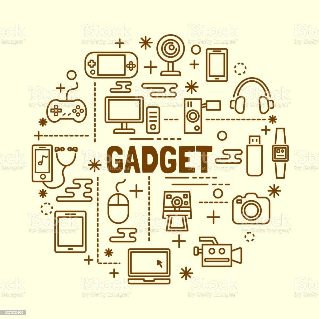 gadget minimal thin line icons set vector art illustration