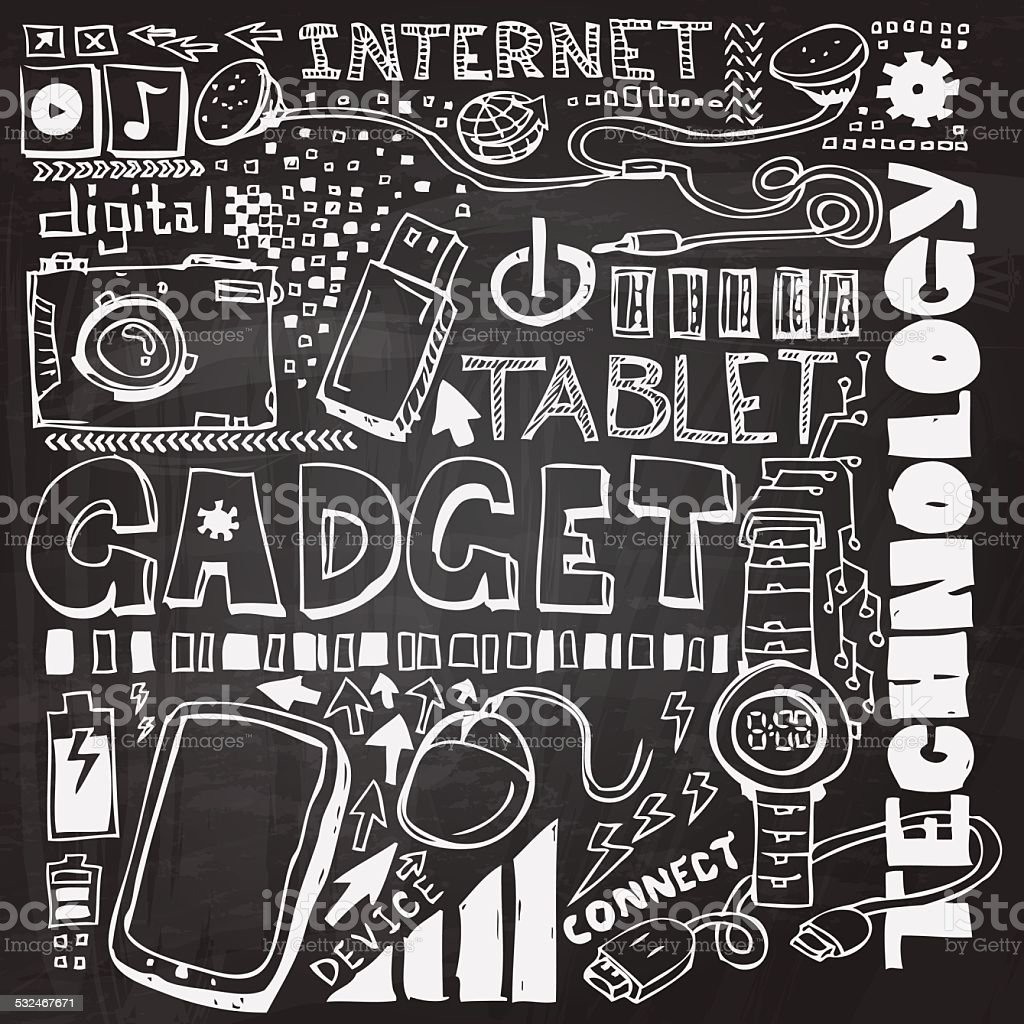 Gadget sketch drawing collection vector art illustration