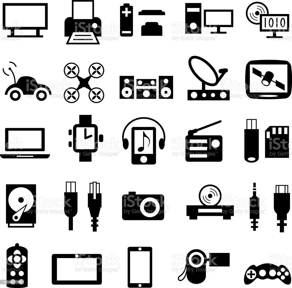 Gadgets Icons vector art illustration