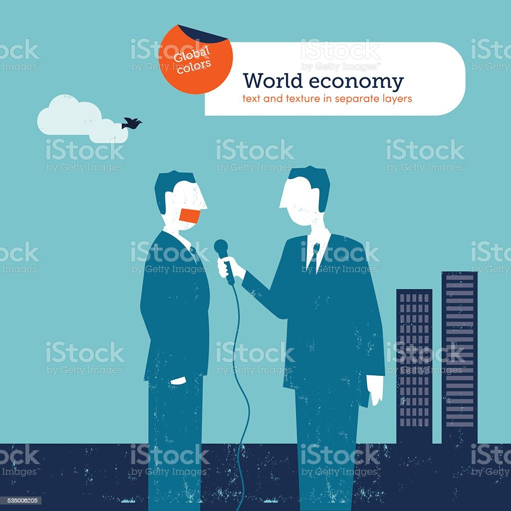 Gaged businessman with a reporter vector art illustration
