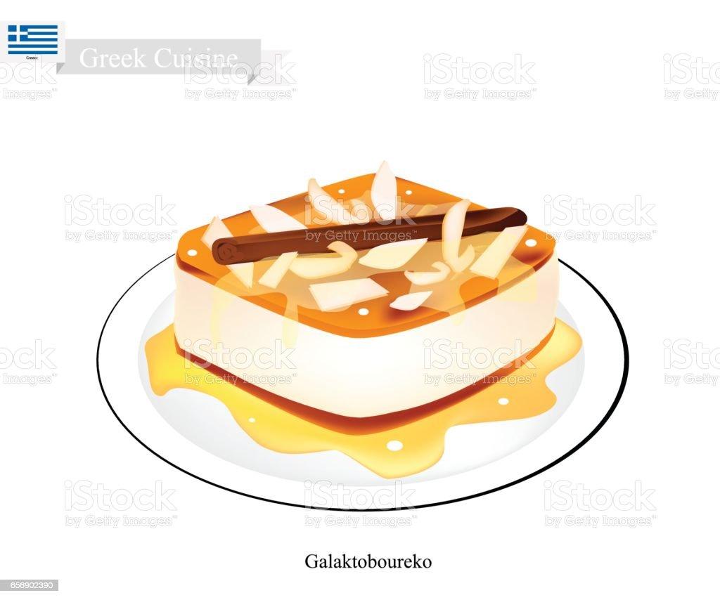 Galaktoboureko or Greek Cheese Pastry with Custard vector art illustration