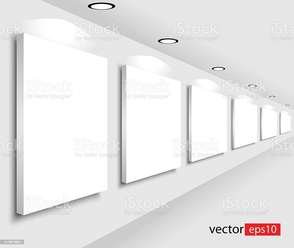 Gallery Interior with empty frames on wall vector art illustration
