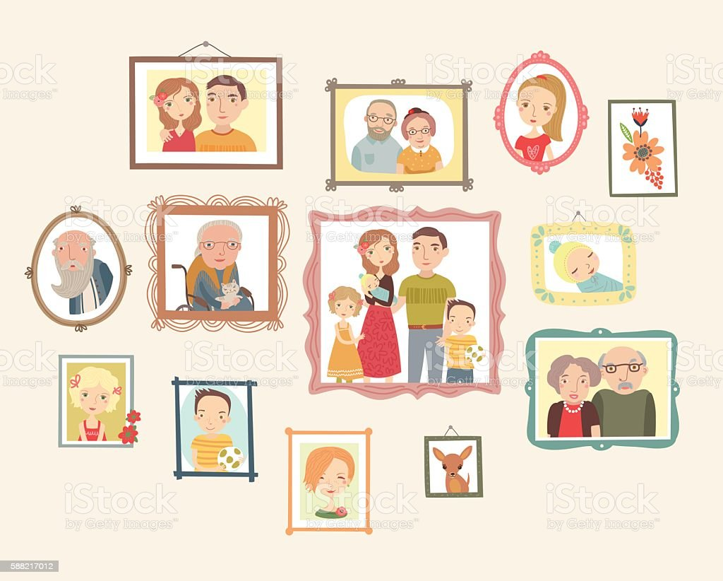 Gallery of family portraits. Photos on the wall vector art illustration