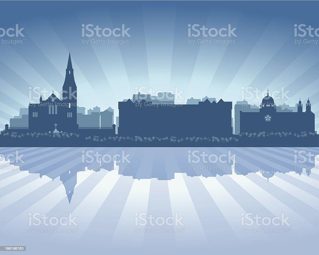 Galway Ireland Blue City skyline silhouette royalty-free stock vector art
