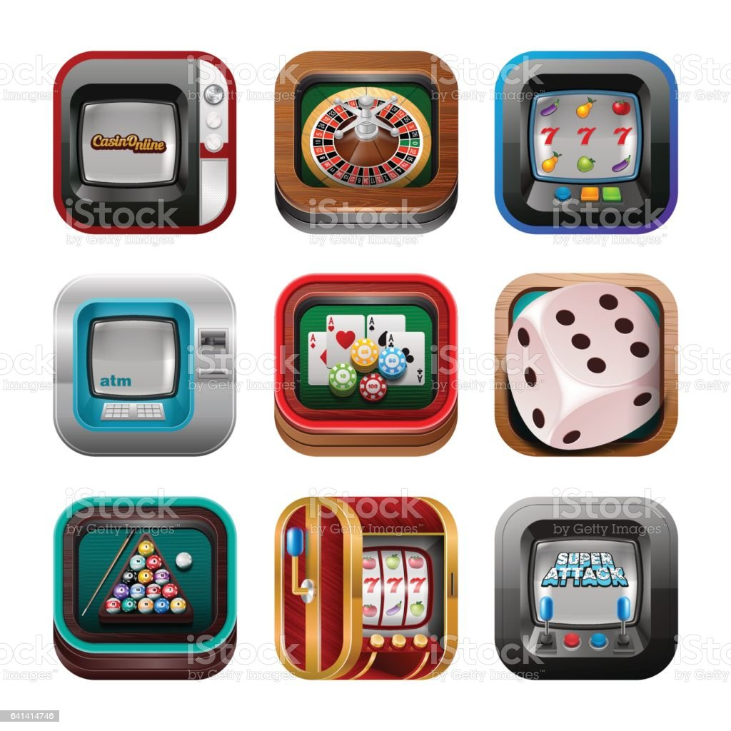 Gambling and casino icons vector art illustration