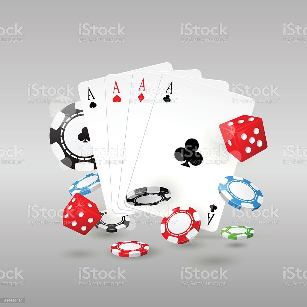 Gambling and casino symbols - poker chips, playing cards and dice vector art illustration