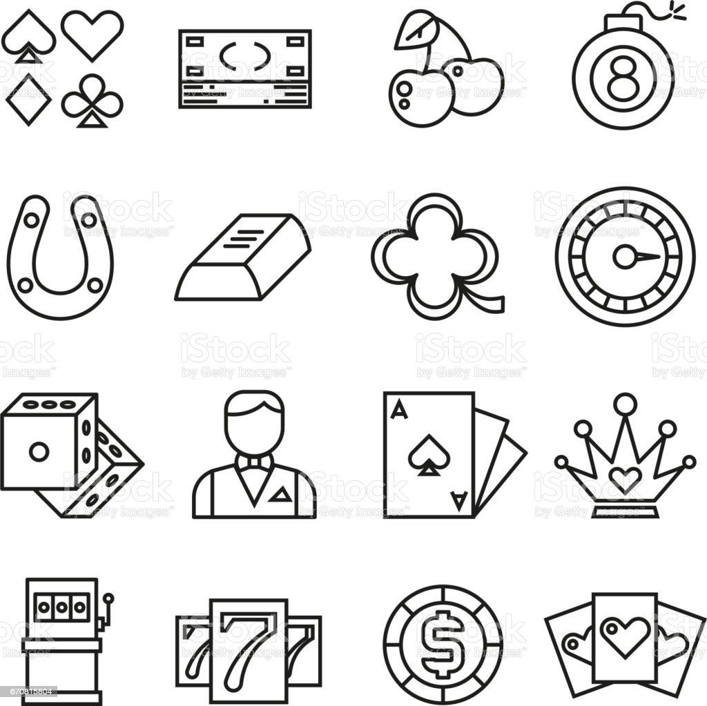 Gambling, casino, poker thin line vector simple icons vector art illustration