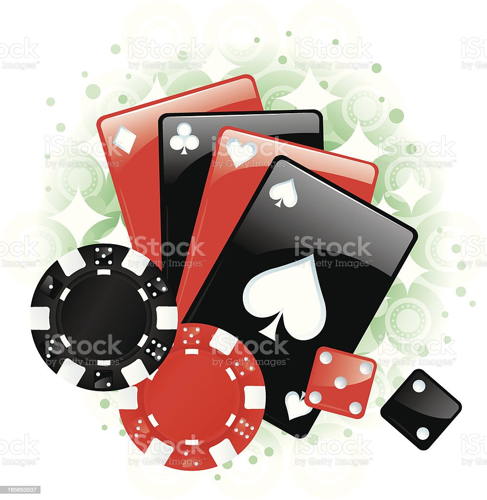 Gambling Chips, Cards and Dice, Game Pieces vector art illustration