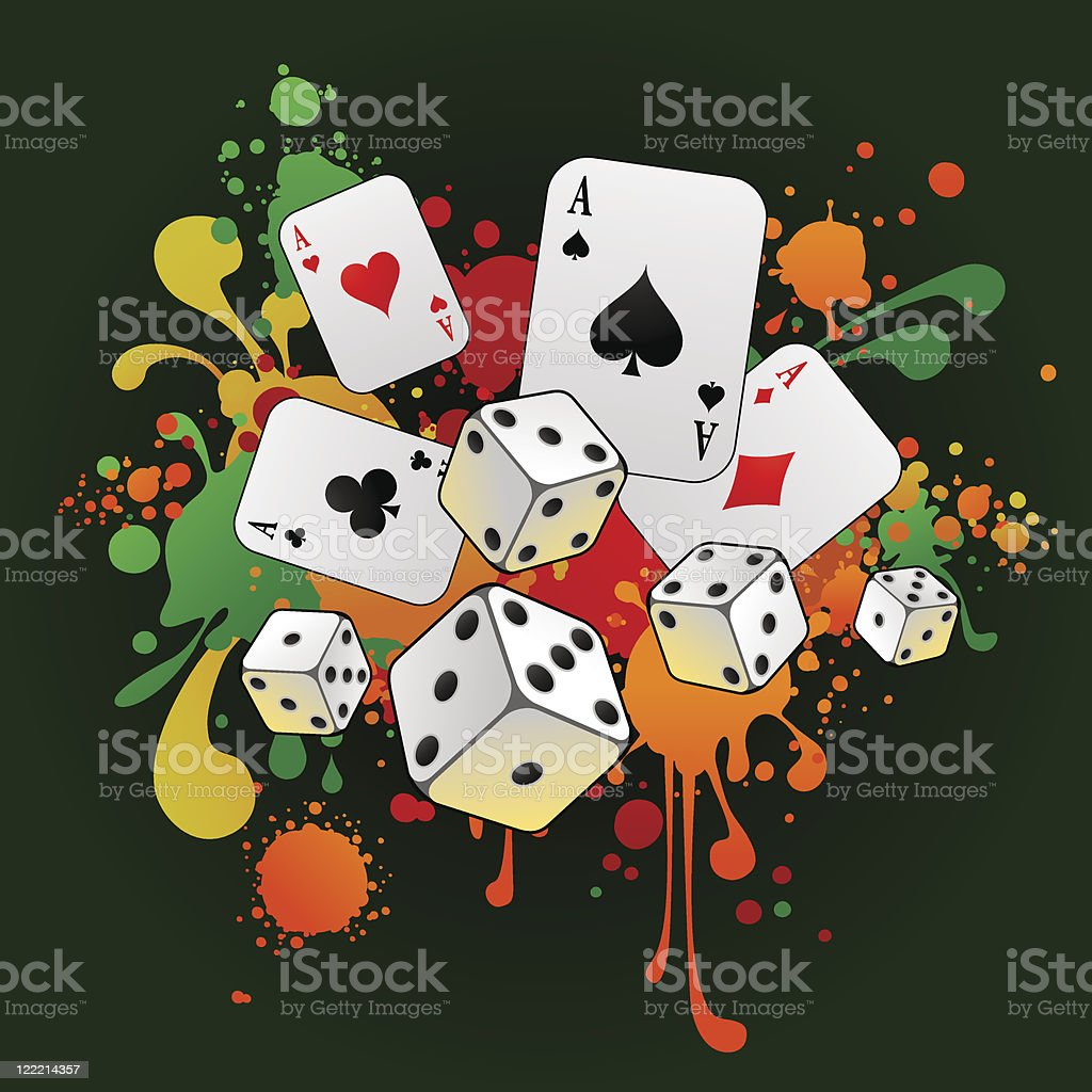 Gambling composition with cards and 3d dices vector art illustration