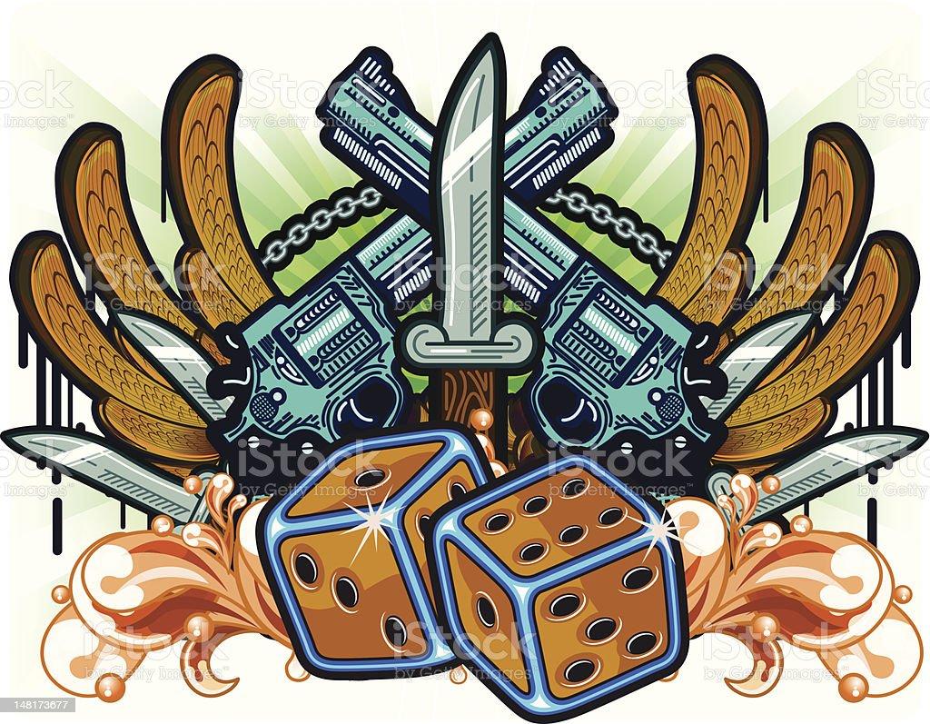 Gambling Guns Wings and Knifes royalty-free stock vector art