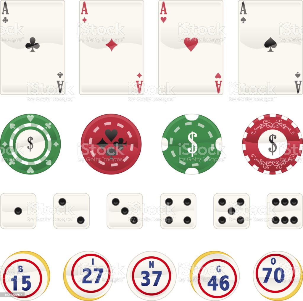 Gambling Icon Set Poker Cards Chips Dice royalty-free stock vector art