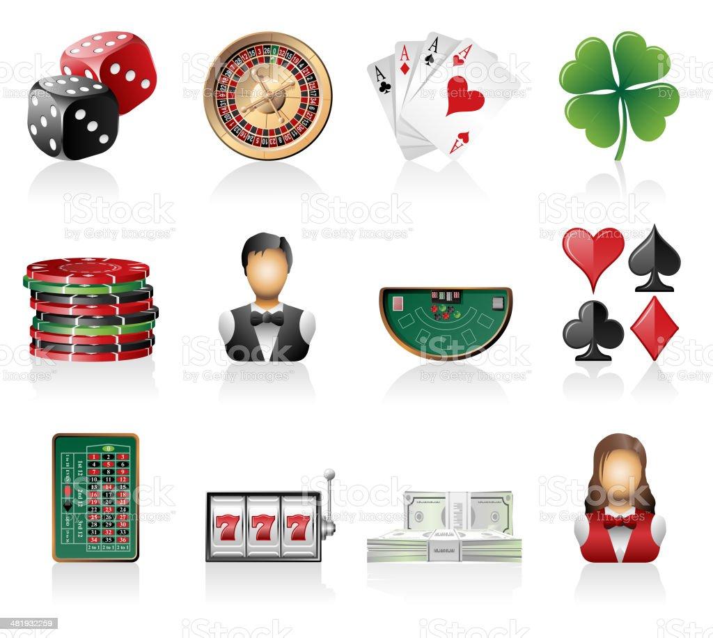 Gambling Icon Set vector art illustration