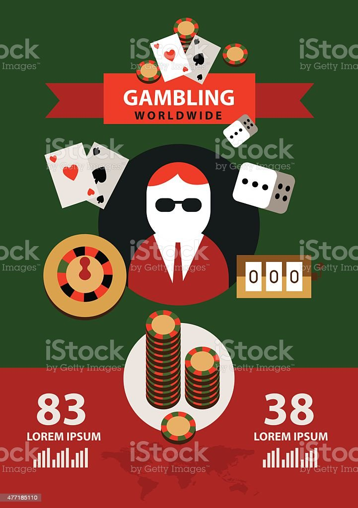 Gambling icons and infographics. vector art illustration