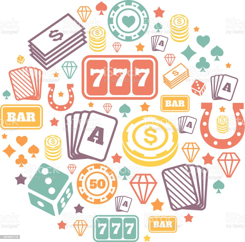 Gambling icons set, casino and card, poker game. Vector   backround vector art illustration