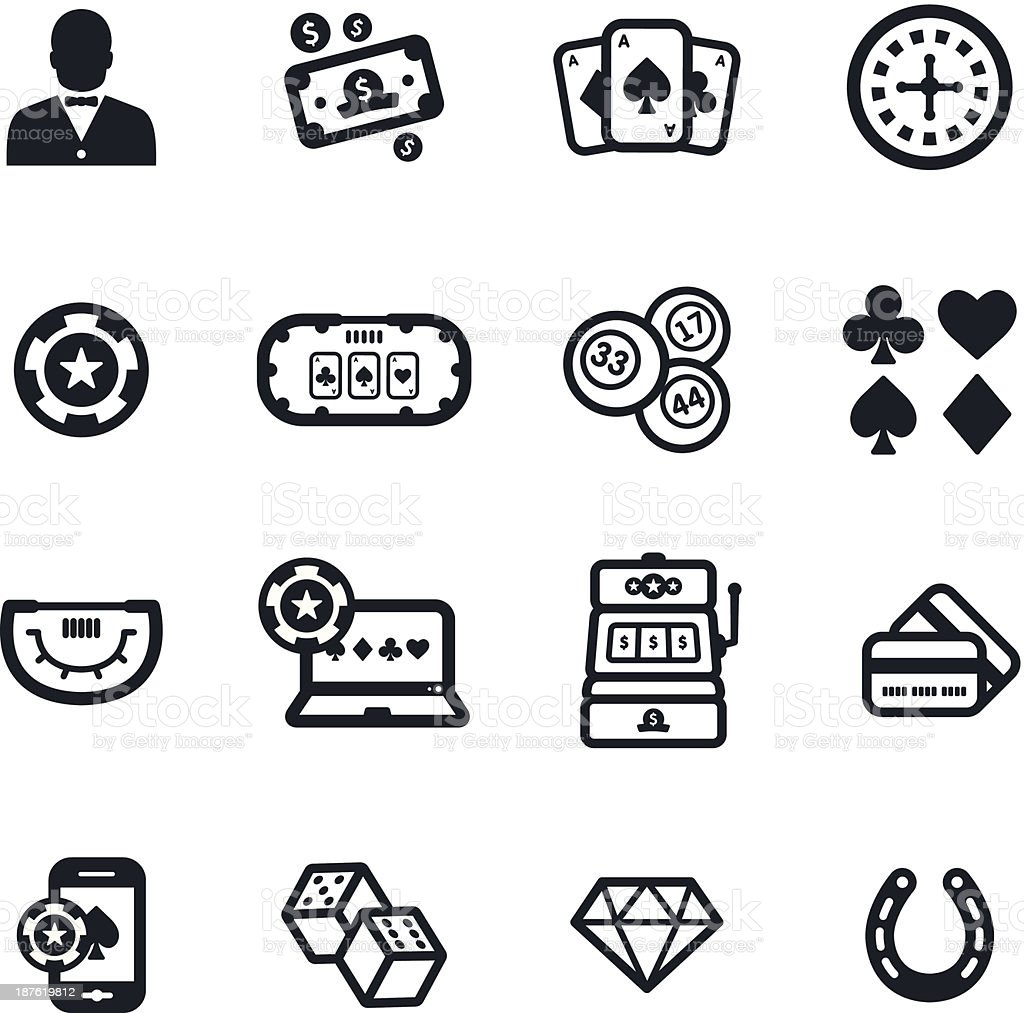 Gambling Icons vector art illustration