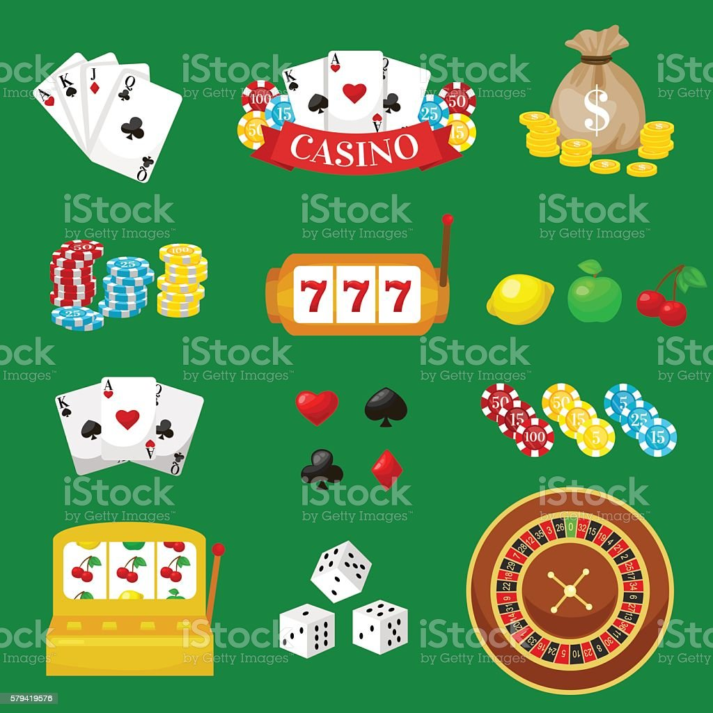Gambling pictograms set. Deck of cards and casino, playing poker vector art illustration