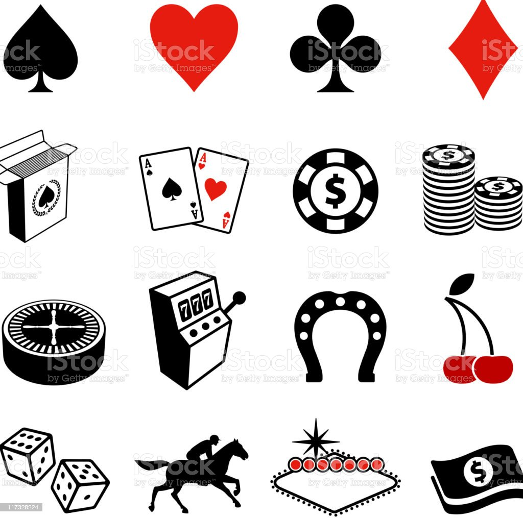 Gambling , Poker and Las Vegas black & white icon set vector art illustration