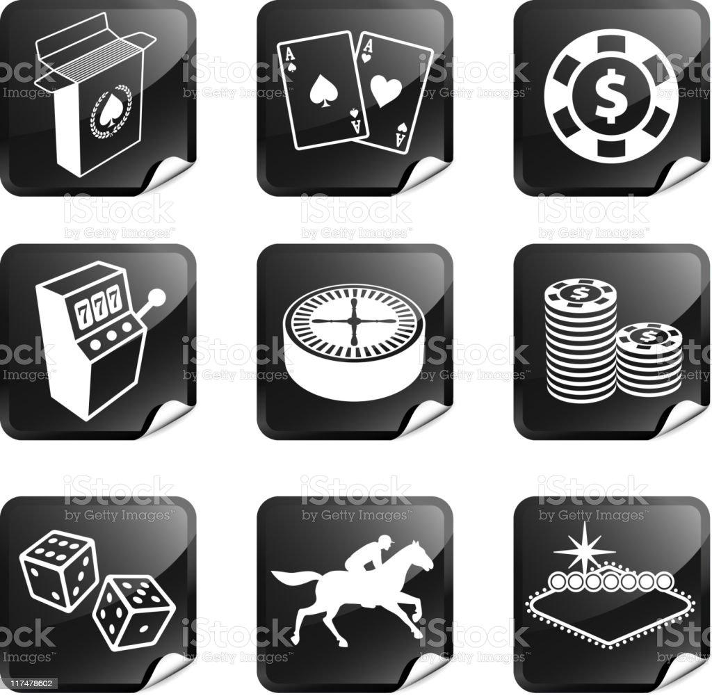 Gambling, Poker and Las Vegas nine sticker set vector art illustration