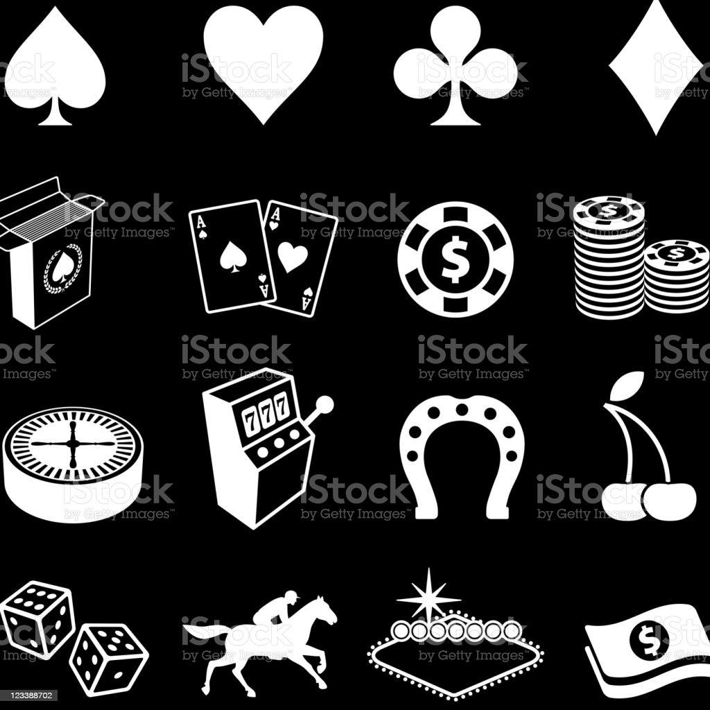 Gambling , Poker and Las Vegas royalty free vector icon set vector art illustration
