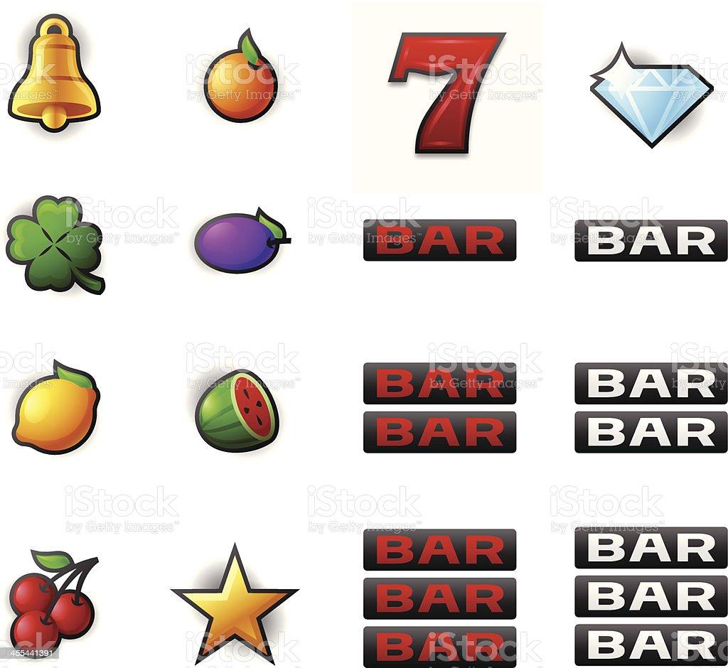 Gambling Slot Machine Symbols vector art illustration