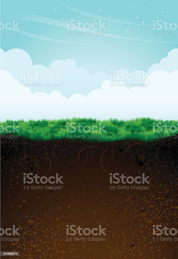 Game background template showing underground and above vector art illustration