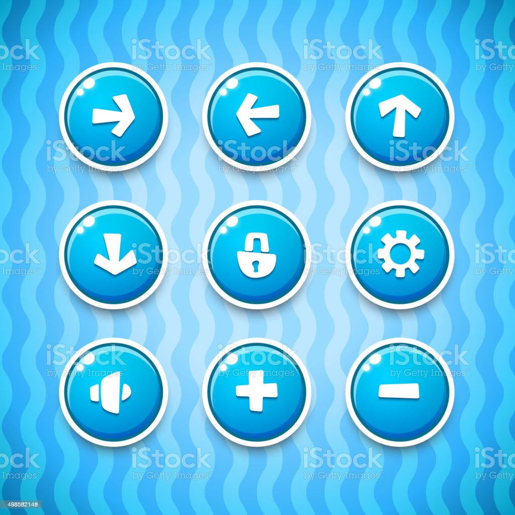 Game Buttons with Icons Set 1 vector art illustration