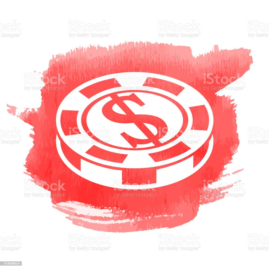 Game Coin Icon on Watercolor Background vector art illustration