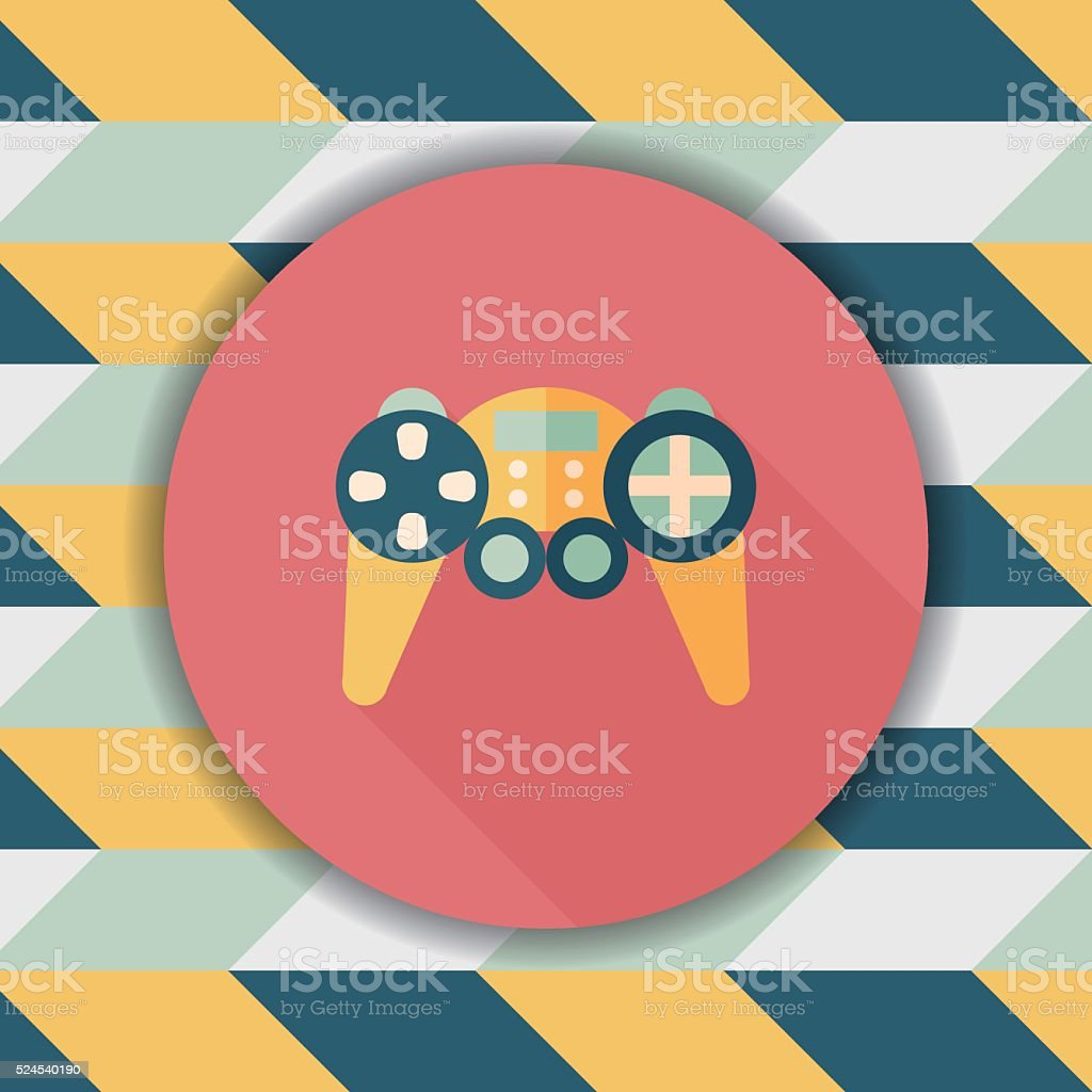 Game controller flat icon with long shadow,eps10 vector art illustration