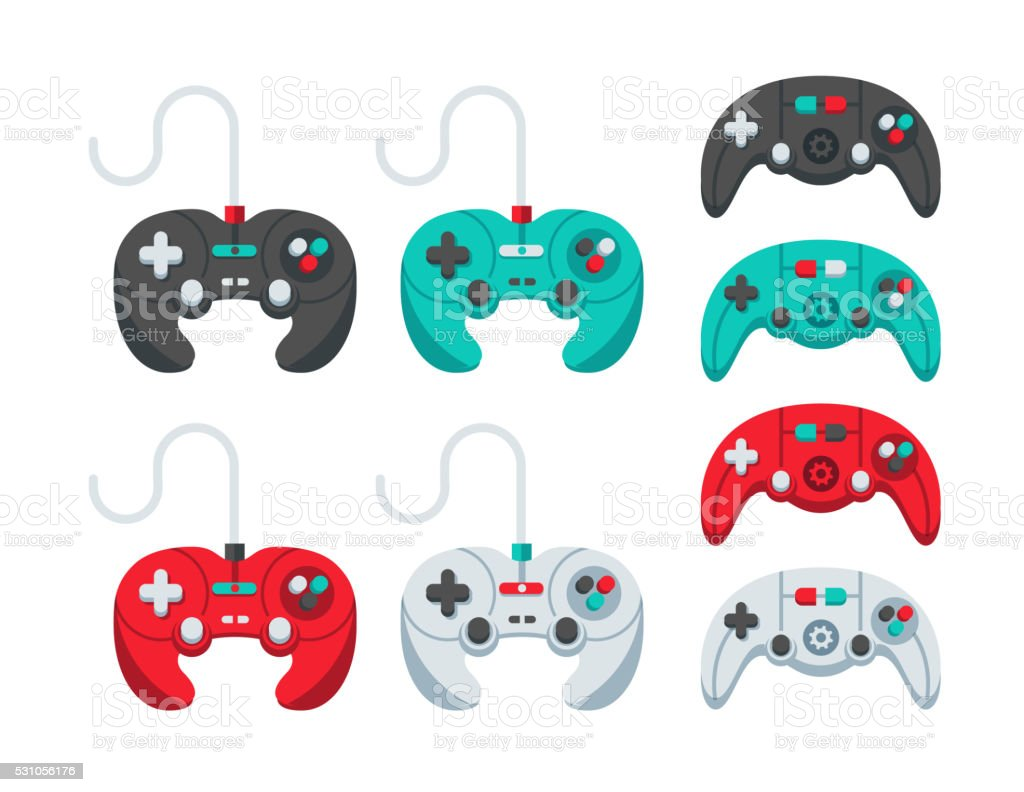 Game Controllers Flat Design Set vector art illustration