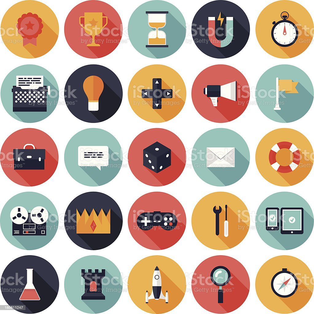 Game design vector icons in colorful circles vector art illustration