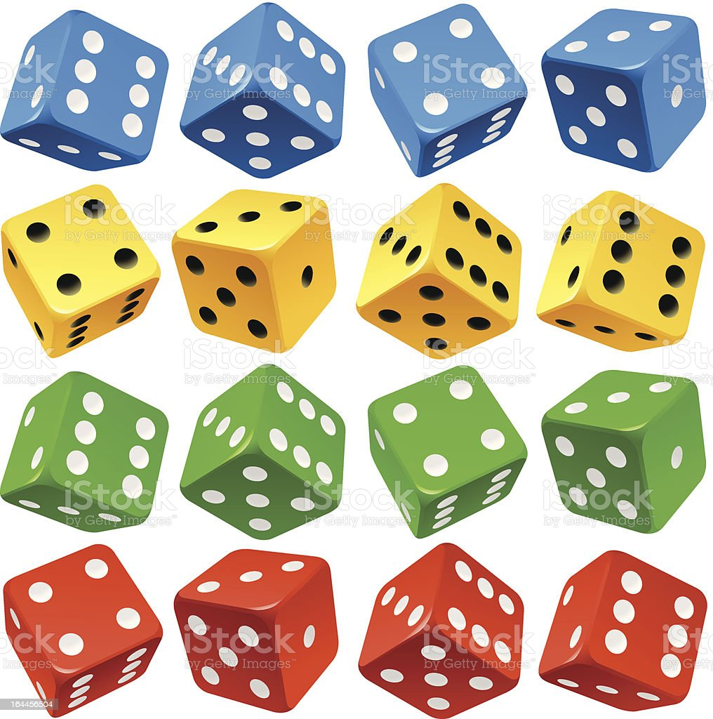 Game dice set. Vector red, yellow, green and blue icons vector art illustration