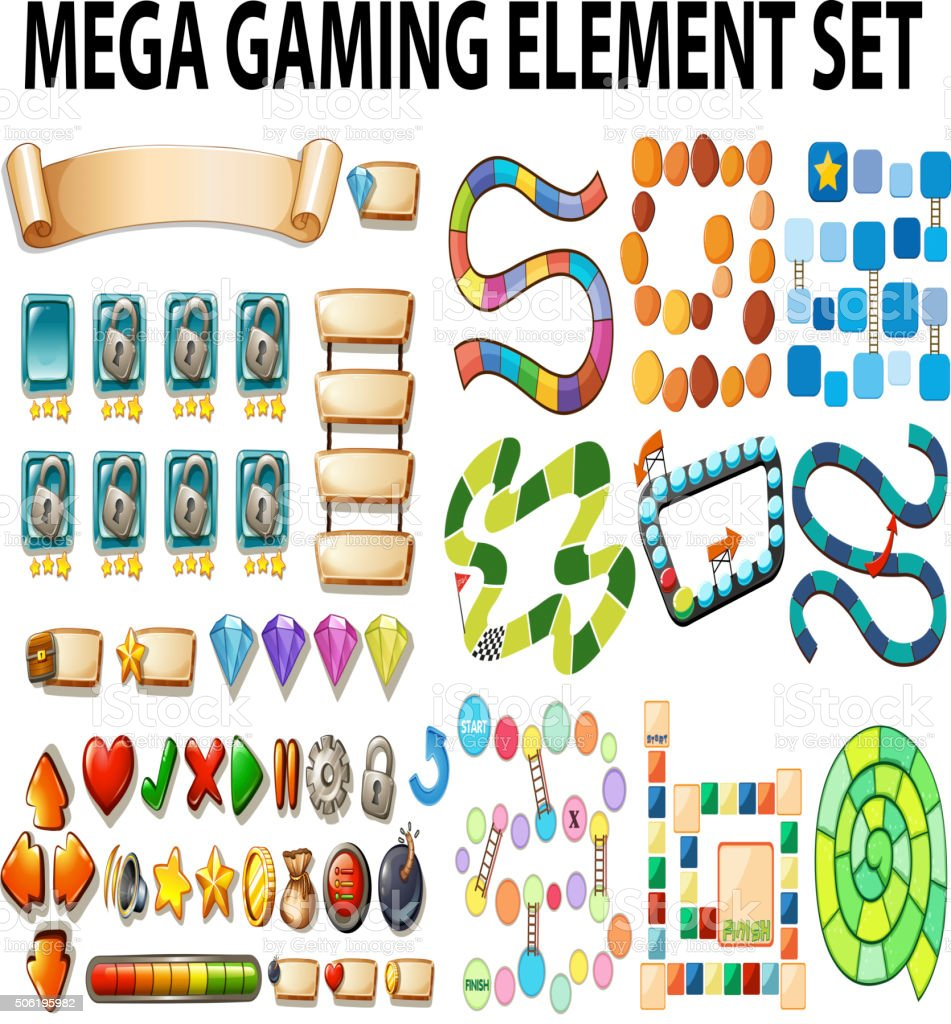 Game elements and template vector art illustration