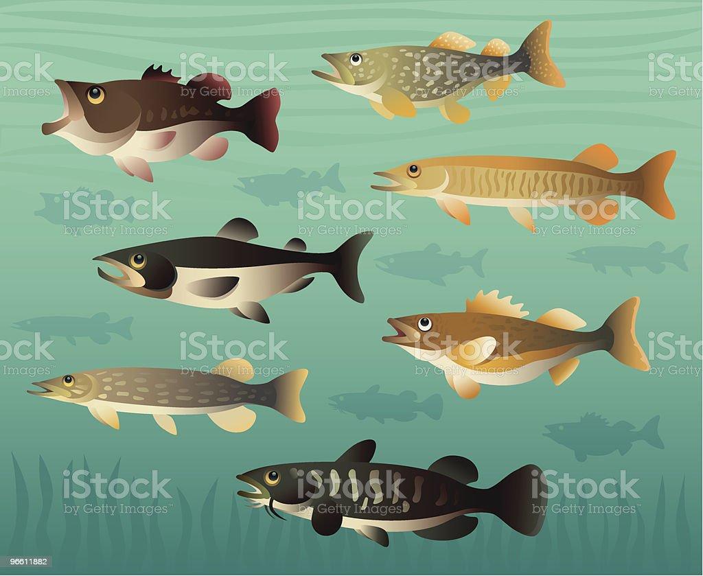 game fishes vector art illustration