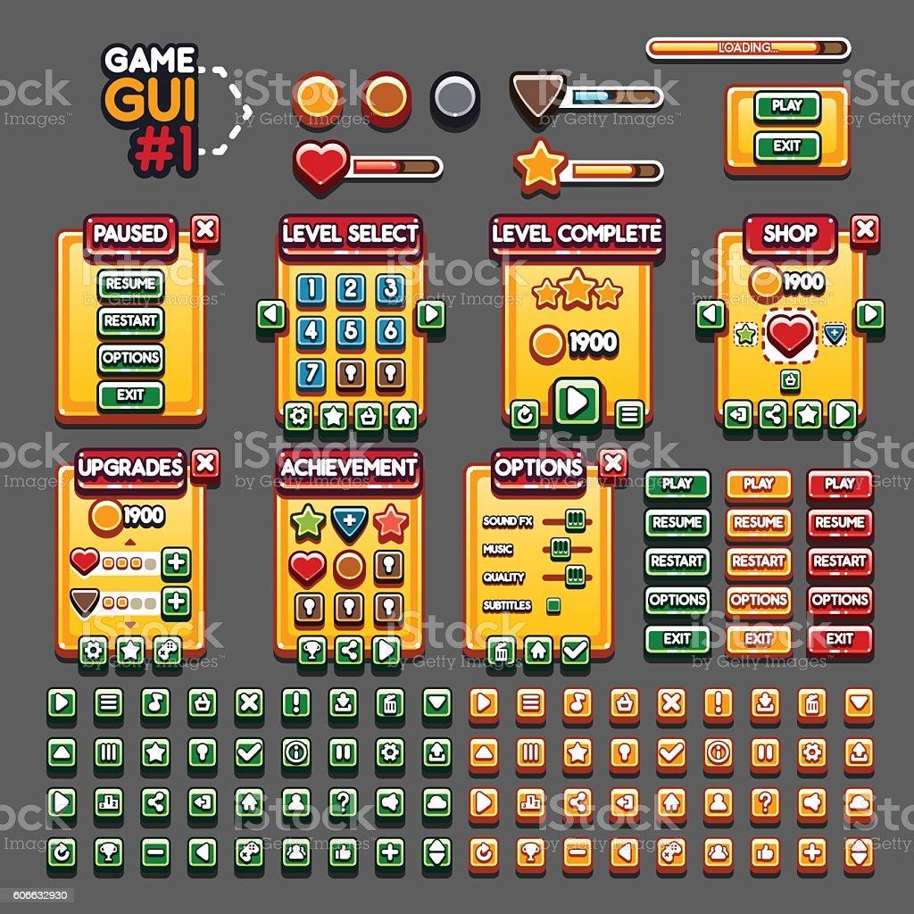 Game GUI #1 vector art illustration