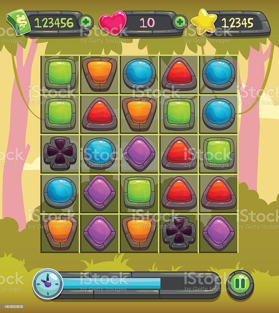 Game interface screen vector art illustration