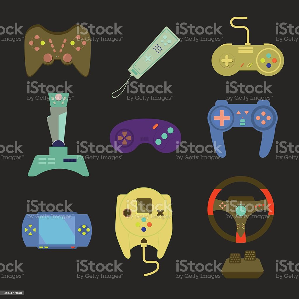 Game joystick and controller set. Various devices. vector art illustration