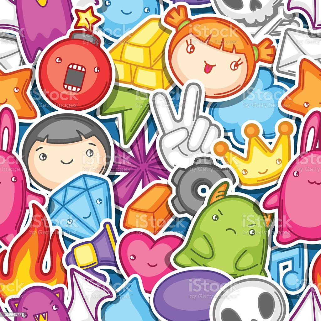 Game kawaii seamless pattern. Cute gaming design elements, objects and vector art illustration