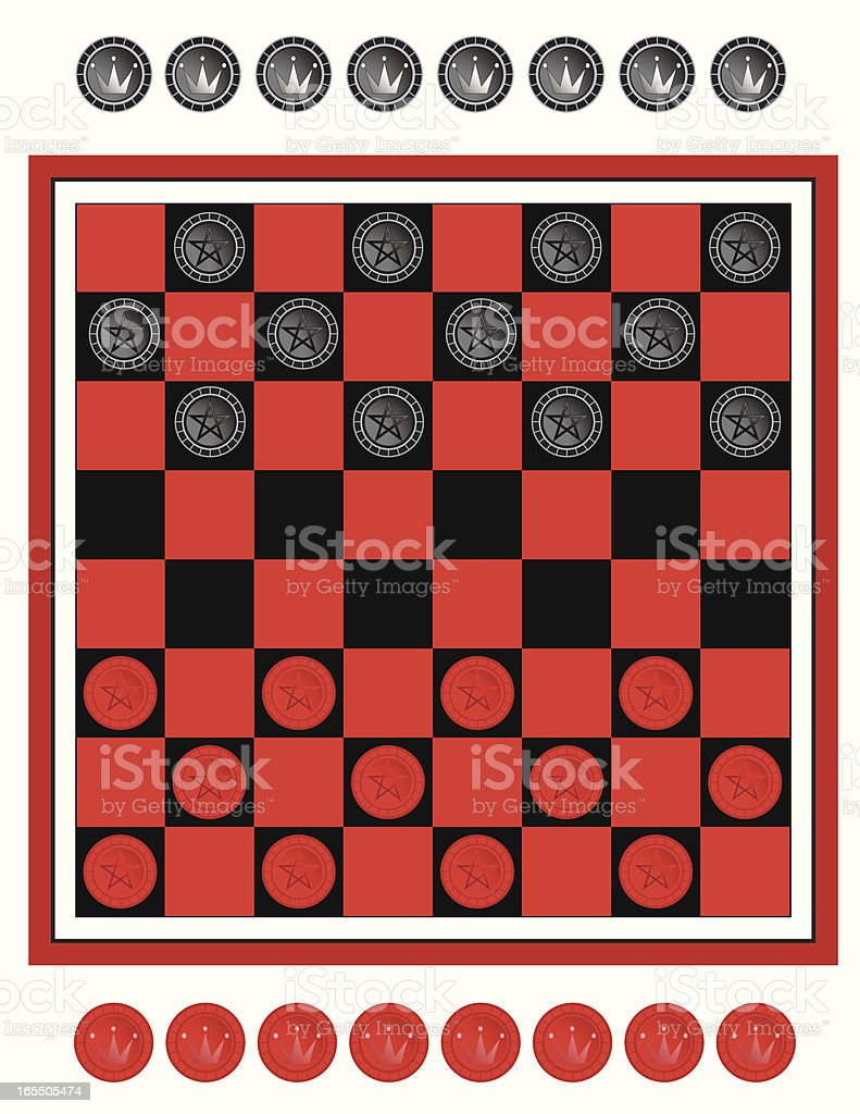 Game of Checkers vector art illustration