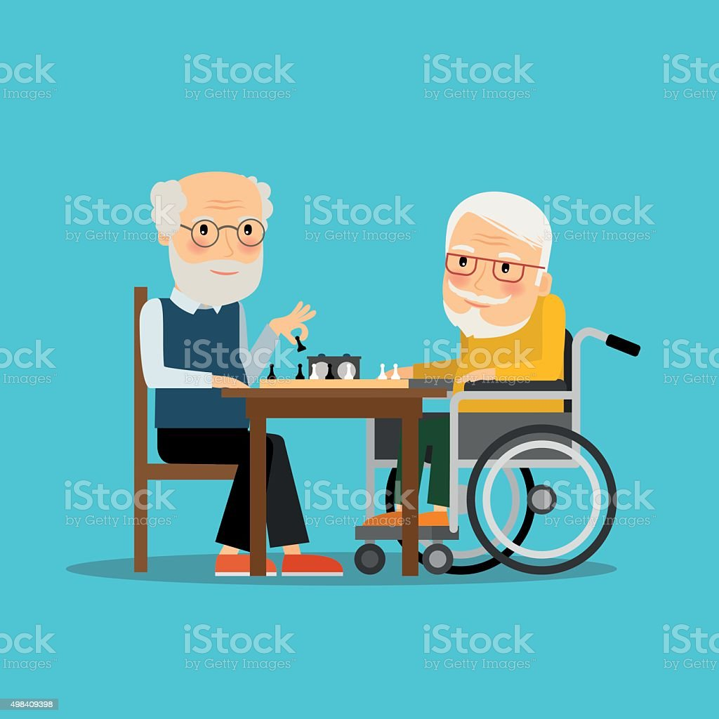 Game of chess. Two old men playing chess vector art illustration
