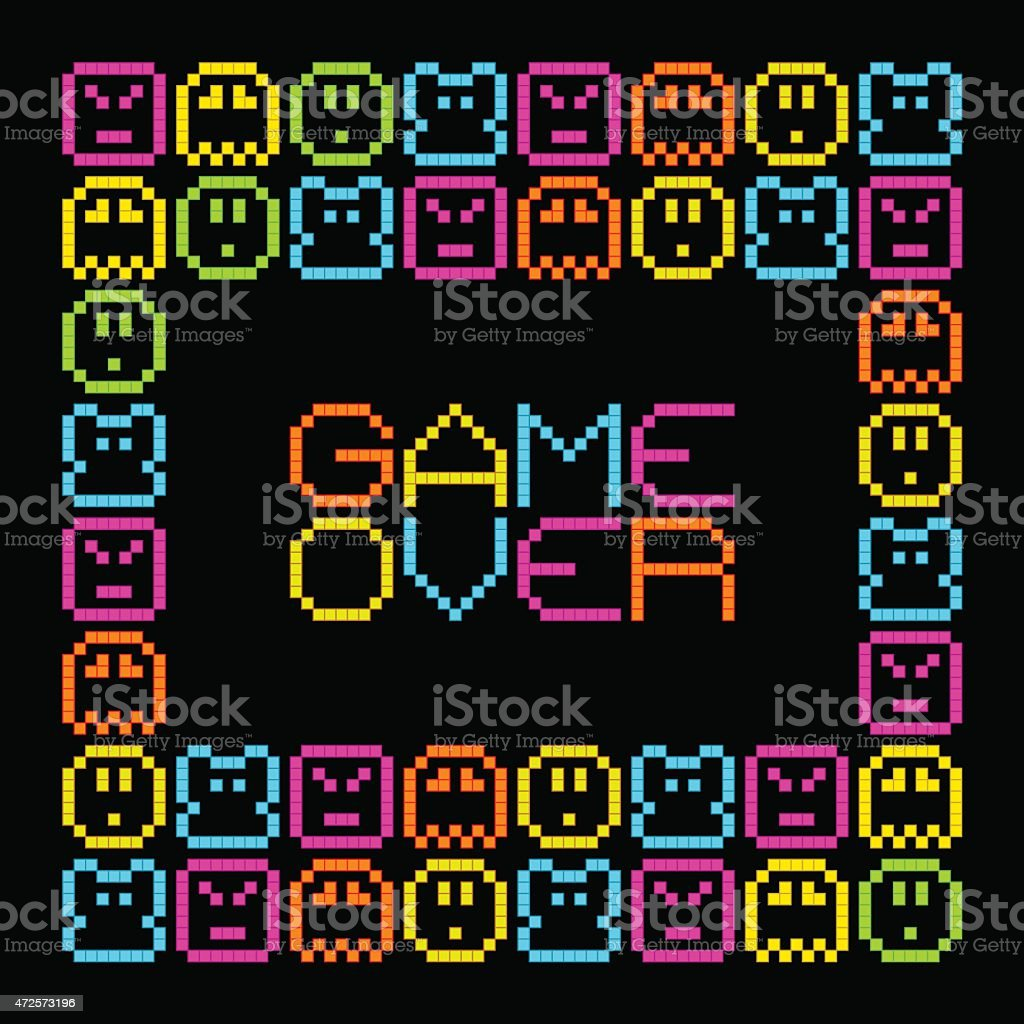 Game Over message in an 8-bit arcade style vector art illustration
