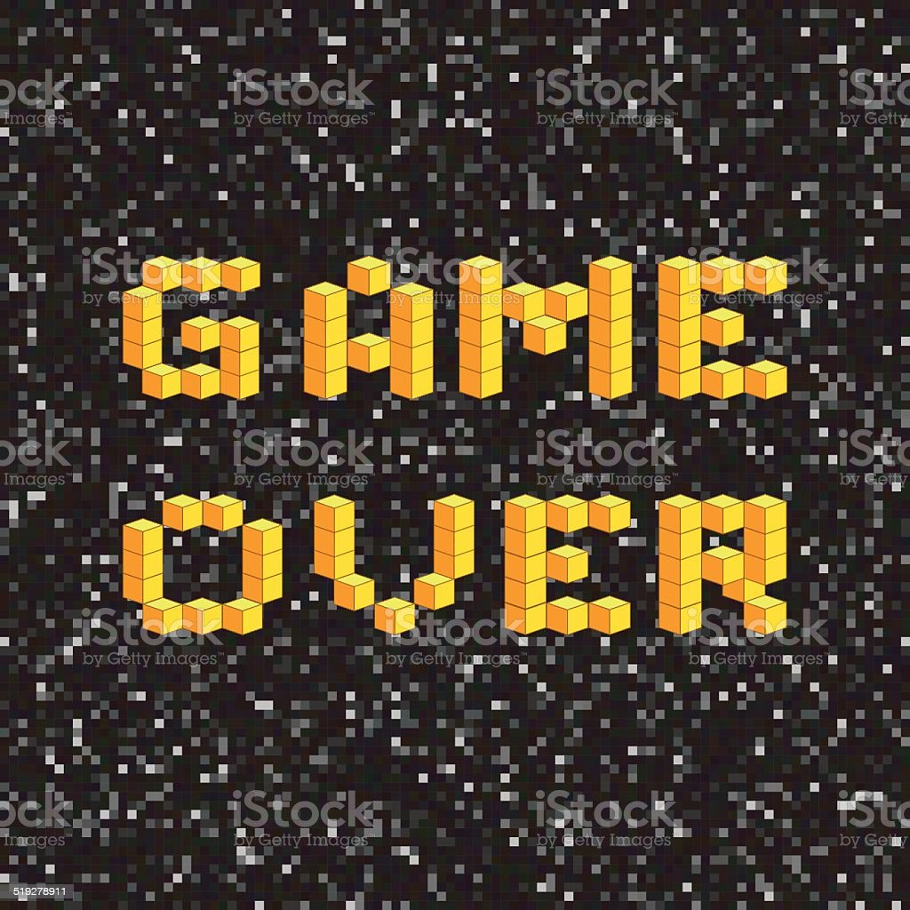 Game over screen, old school gaming poster, failure concept vector art illustration