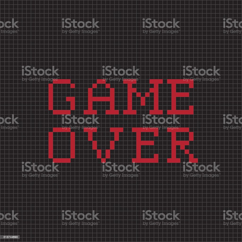 Game over. Vector pixel text message vector art illustration