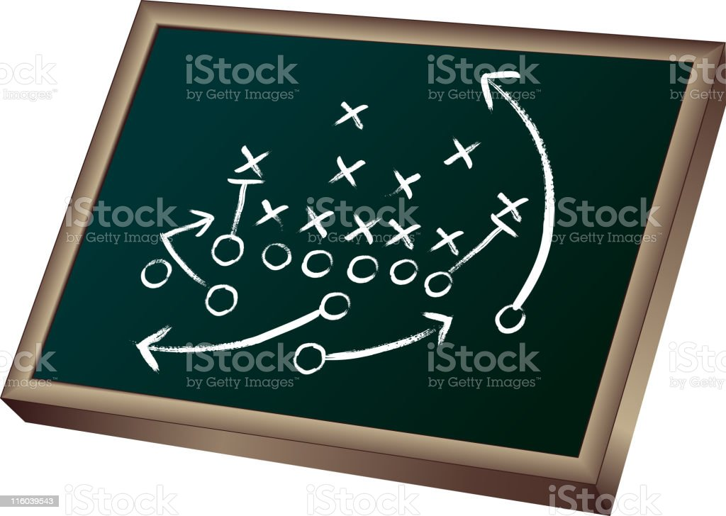 Game plan on blackboard vector art illustration