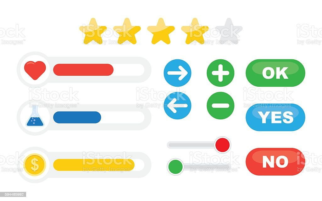 Game progress bar and resources icons vector art illustration